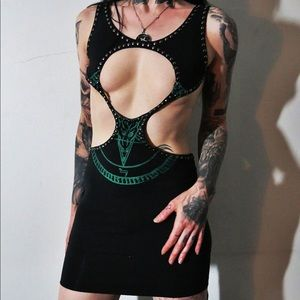 Green & Black Pentagram Studded Cutout Mini Dress